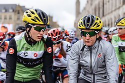 Rachele Barbieri and Valentina Scandolara have a prime spot on the front row for the start in Ieper - Women's Gent Wevelgem 2016, a 115km UCI Women's WorldTour road race from Ieper to Wevelgem, on March 27th, 2016 in Flanders, Netherlands.