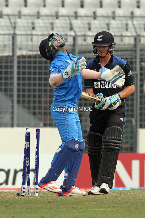 Christian Leopard of New Zealand against India at sher e Bangla national cricket stadium Mirpur.<br /> New Zealand v India, ICC U19 Cricket World Cup at Mirpur, Bangladesh. 30 January 2016.<br /> India beat New Zealand by 120 runs.<br /> Photo: &copy;ICC