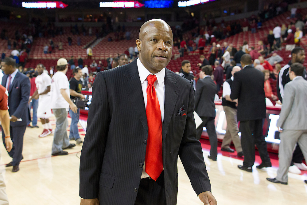 FAYETTEVILLE, AR - JANUARY 23:  Head Coach Mike Anderson of the Arkansas Razorbacks walks off the court after a game the Mississippi State Bulldogs at Bud Walton Arena on January 23, 2013 in Fayetteville, Arkansas. The Razorbacks defeated the Bulldogs 96-70.  (Photo by Wesley Hitt/Getty Images) *** Local Caption *** Mike Anderson