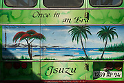 'Once in an Era'. The painted back of a bus.