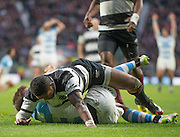Twickenham, United Kingdom, Waisake NAHOLO, wearing a wist bandage/support with RIP, Jonah [LOMU] written on it, Killik Cup Match, Barbarians vs Argentina, RFU Stadium, Twickenham, England,<br /> <br /> Saturday    21/11/2015  <br /> <br /> [Mandatory Credit; Peter Spurrier/Intersport-images]