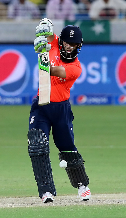 PICTURE BY MARK GREEN/SWPIX.COM  Pakistan v England 1st T20, Dubai Internayional Stadium, UAE, 26/11/15 <br /> England's Moeen Ali went cheaply for a duck.Caught Umar Akmal bowled Sohail Tanvir