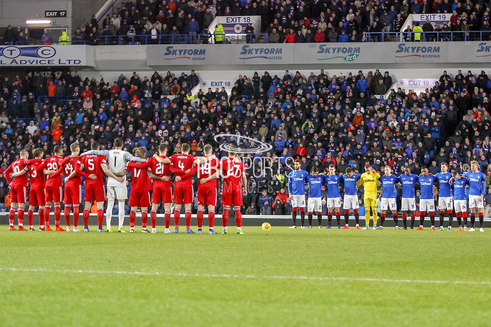 Both Aberdeen And Rangers paid their respects along with the fans to Ex Rangers Defender Eric Caldow ahead of the William Hill Scottish Cup quarter final replay match between Rangers and Aberdeen at Ibrox, Glasgow, Scotland on 12 March 2019.
