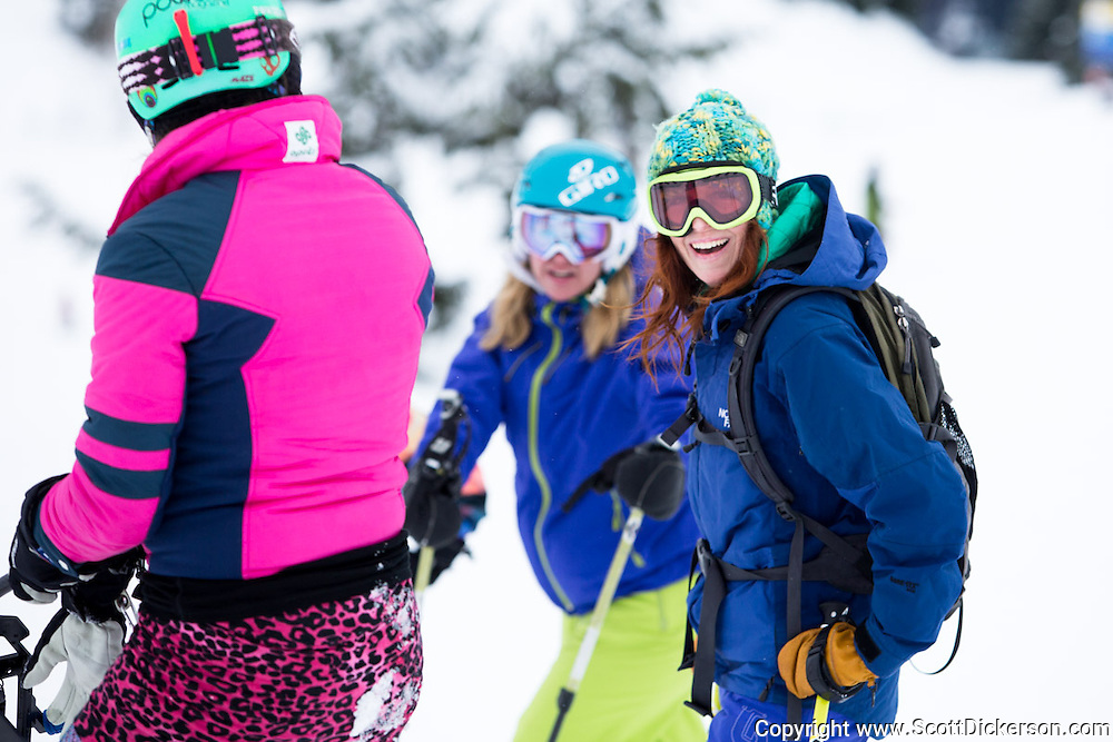 Shannon Erickson. Female skiers enjoying a day of skiing at Alyeska Resort in Girdwood, Alaska as part of the  Get the Girls Out campaign organized by SheJumps.