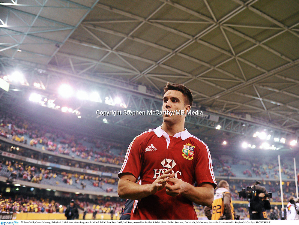 29 June 2013; Conor Murray, British & Irish Lions, after the game. British & Irish Lions Tour 2013, 2nd Test, Australia v British & Irish Lions. Ethiad Stadium, Docklands, Melbourne, Australia. Picture credit: Stephen McCarthy / SPORTSFILE