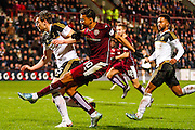 Hearts FC Forward Osman Sow takes another attempt on goal during the Scottish Cup fourth round match between Heart of Midlothian and Aberdeen at Tynecastle Stadium, Gorgie, Scotland on 9 January 2016. Photo by Craig McAllister.