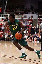 January 27, 2011; Stanford, CA, USA;  Oregon Ducks guard Teondre Williams (22) dribbles the ball against the Stanford Cardinal during the first half at Maples Pavilion.  Oregon defeated Stanford 67-59.