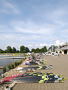 Eton,  GREAT BRITAIN. General Views of the Eton Course   and Boathouse forecourt, Eton Schools' Regatta, Eton Rowing Centre, Dorney Lake. [Finish of cancelled National Schools Regatta], Saturday, 07/06/2008  [Mandatory Credit:  Peter SPURRIER / Intersport Images]. Rowing Courses, Dorney Lake, Eton. ENGLAND