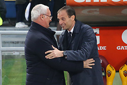 May 12, 2019 - Rome, Lazio, Italy - Roma, Lazio, Italy, 12-05-19, Italian football match between As Roma - Juventus at the Olimpico Stadium in picture coach Juventus Massimiliano Allegri and coach As Roma Claudio Ranieri , the final score is 0-2 for As Roma  (Credit Image: © Antonio Balasco/Pacific Press via ZUMA Wire)