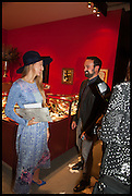 JULIA FLIT and EVGENY LEBEDEV at the preview of LAPADA Art and Antiques Fair. Berkeley Sq. London. 23 September 2014.