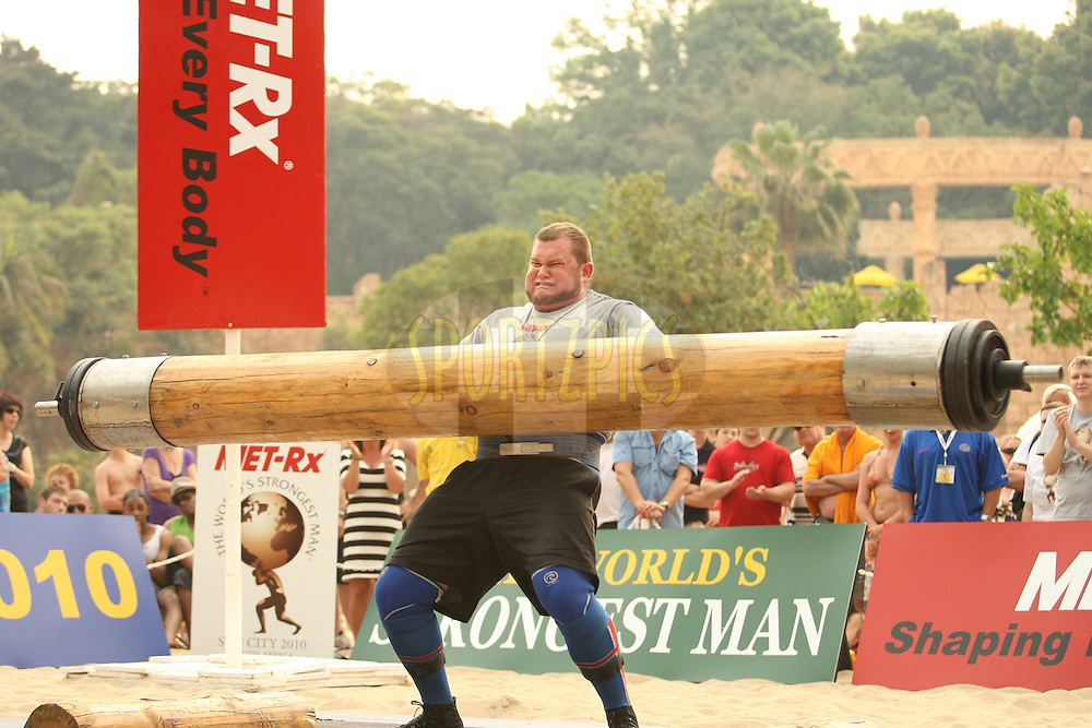 Stefan Solvi Peturssen (Iceland) finds the going tough in the overhead log-lift during the final rounds of the World's Strongest Man competition held in Sun City, South Africa.