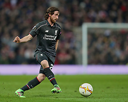 MANCHESTER, ENGLAND - Wednesday, March 16, 2016: Liverpool's Joe Allen in action against Manchester United during the UEFA Europa League Round of 16 2nd Leg match at Old Trafford. (Pic by David Rawcliffe/Propaganda)