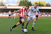 James Dayton and Nicky Wroe during the Vanarama National League match between Cheltenham Town and FC Halifax Town at Whaddon Road, Cheltenham, England on 16 April 2016. Photo by Antony Thompson.