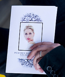 Peaches Geldof funeral order of service.<br /> Friends and family arrive at St Mary Magdalene and St Lawrence church in the village of Davington, Kent, to the funeral of Peaches Geldof.<br /> Monday, 21st April 2014. Picture by i-Images