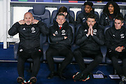 Manchester United Assistant Manager Mike Phelan Manchester United interim Manager Ole Gunnar Solskjaer Michael Carrick first team coach of Manchester United and  and Kieran McKenna first team coach of Manchester United on the bench during the Champions League Round of 16 2nd leg match between Paris Saint-Germain and Manchester United at Parc des Princes, Paris, France on 6 March 2019.