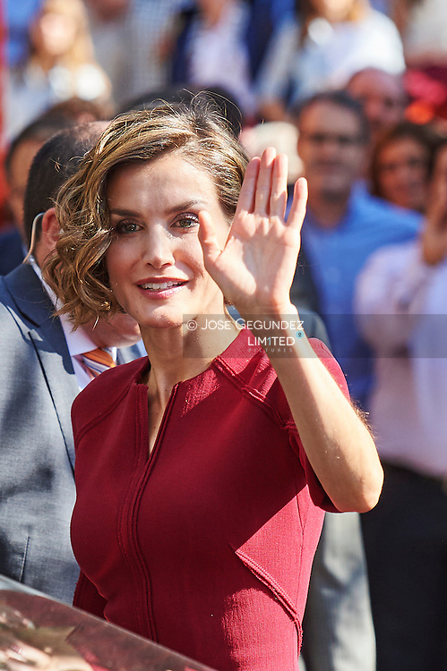 Queen Letizia of Spain attends the Opening of the training course 2015-2016 at the Institute of secondary education 'Javier García Téllez'  on October 1, 2015 in Careers, Spain