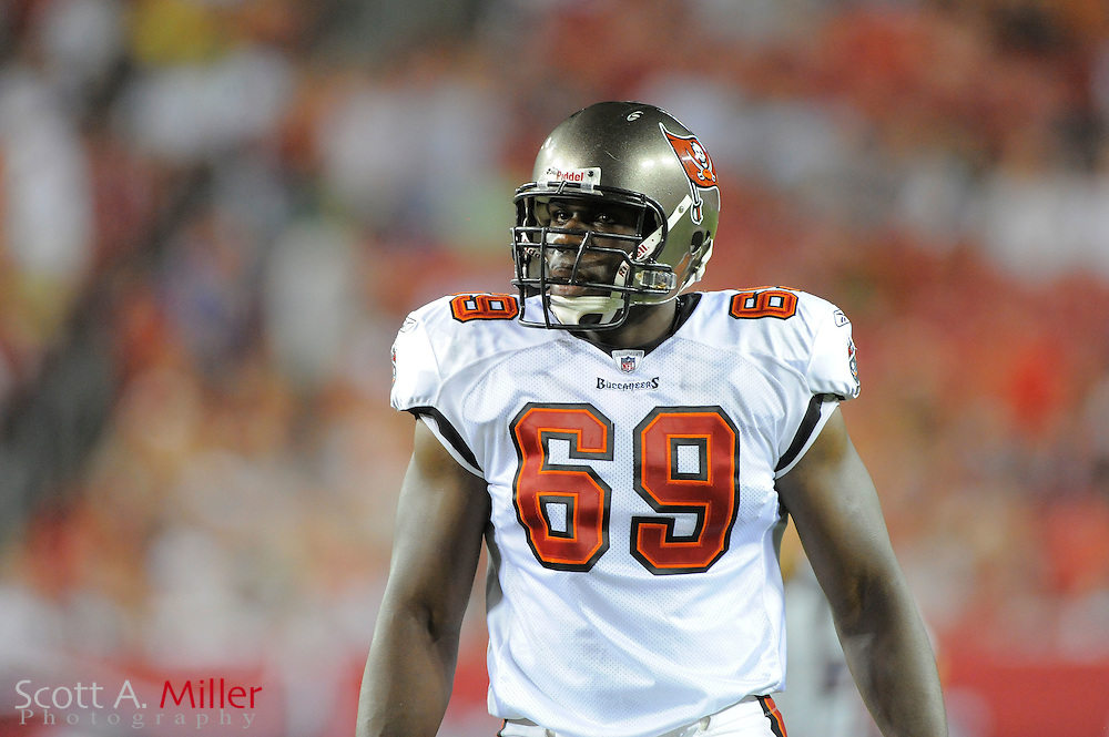 Tampa Bay Buccaneers offensive tackle Demar Dotson (69) during the Bucs game against the New England Patriots at Raymond James Stadium on Aug. 18, 2011 in Tampa, Fla...©2011 Scott A. Miller.