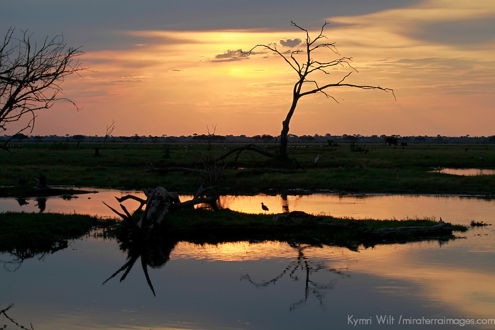 Africa, Botswana, Savute. Sunset Reflections at Savute in Chobe National Park.