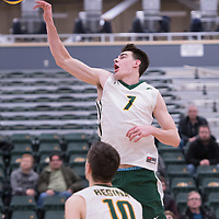 1st year right-side hitter Matthew Aubrey (7) of the Regina Cougars in action during men's Volleyball home game on January 21 at Centre for Kinesiology, Health and Sport. Credit: Arthur Ward/Arthur Images