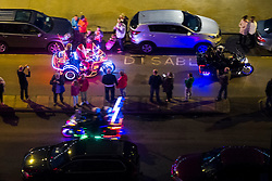 Santa in the Scarborough Goldwing Light Parade 2015 from the terrace of the Grand Hotel<br />