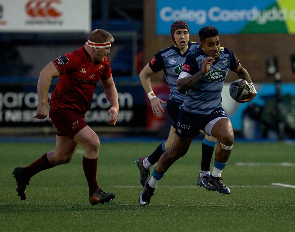 Cardiff Blues' Rey Lee-Lo on the charge<br /> <br /> Photographer Simon King/Replay Images<br /> <br /> Guinness PRO14 Round 15 - Cardiff Blues v Munster - Saturday 17th February 2018 - Cardiff Arms Park - Cardiff<br /> <br /> World Copyright © Replay Images . All rights reserved. info@replayimages.co.uk - http://replayimages.co.uk