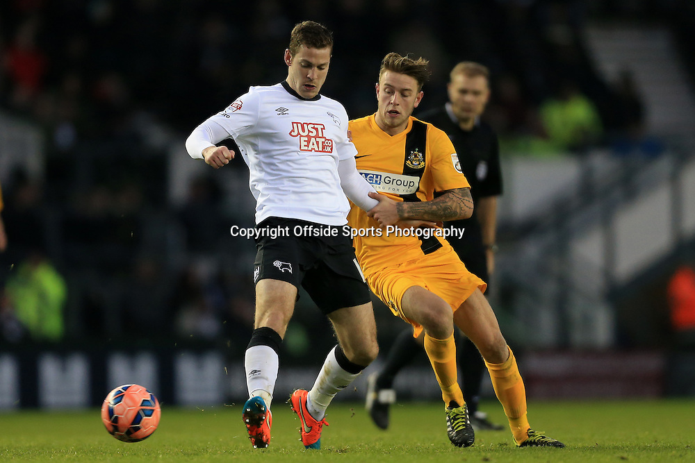 3rd January 2015 - FA Cup - 3rd Round - Derby County v Southport - Paul Coutts of Derby battles with Charlie Joyce of Southport - Photo: Simon Stacpoole / Offside.