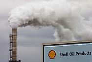 Photo of Shell Oil refinery smokestack in Anacortes, Washington