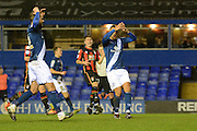 Birmingham City striker James Vaughan after missing a penalty during the The FA Cup third round match between Birmingham City and Bournemouth at St Andrews, Birmingham, England on 9 January 2016. Photo by Alan Franklin.