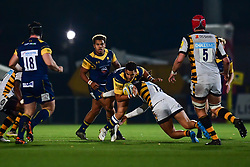 Afeafe Haisila Lokotui of Worcester Cavaliers is tackled by Jacob Umaga of Wasps - Mandatory by-line: Craig Thomas/JMP - 23/10/2017 - RUGBY - Sixways Stadium - Worcester, England - Worcester Cavaliers v Wasps - Aviva A League
