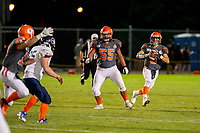 KELOWNA, BC - AUGUST 3:  Ethan Newman #6 looks for the pass as Bear Akachuk #55 of Okanagan Sun prepares to block players of the Kamloops Broncos at the Apple Bowl on August 3, 2019 in Kelowna, Canada. (Photo by Marissa Baecker/Shoot the Breeze)