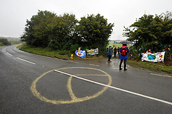 © Licensed to London News Pictures. 08/10/2012. Hinkley Point, Somerset, UK. Picture of entrance to protesters base camp, as anti-nuclear campaigners hold a mass trespass protest at the site of Hinkley Point nuclear power station.  Energy company EDF plans to build a new nuclear power plant at the site called Hinkley C.  08 October 2012..Photo credit : Simon Chapman/LNP