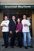 Owners and chefs pose for a portrait at Great Mall Mayflower Restaurant in Milpitas, California, on September 11, 2014. (Stan Olszewski/SOSKIphoto)