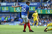 Portsmouth Midfielder, Gareth Evans (26) scores a goal to make it 1-0 during the EFL Sky Bet League 1 match between Portsmouth and Oxford United at Fratton Park, Portsmouth, England on 18 August 2018.