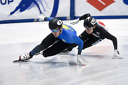 February 8, 2019 - Torino, Italia - Foto LaPresse/Nicolò Campo .8/02/2019 Torino (Italia) .Sport.ISU World Cup Short Track Torino - 500 meter Men Preliminaries.Nella foto: Denis Nikisha (sinistra), Hiroki Yokoyama..Photo LaPresse/Nicolò Campo .February 8, 2019 Turin (Italy) .Sport.ISU World Cup Short Track Turin - 500 meter Men Preliminaries.In the picture: Denis Nikisha (L), Hiroki Yokoyama (Credit Image: © Nicolò Campo/Lapresse via ZUMA Press)