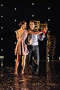 Dutch-born and London-based choreographer Didy Veldman explores familiar scenes of marriage as theatre spaces become wedding venues. Guests arrive and excitement builds as scenes of love and togetherness overcome anticipation and nerves amongst the wedding party. Picture features Dane Hurst & Sara Horton.<br /> At The Place Theatre, London. © Tony Nandi 2018<br /> At The Place Theatre, London. © Tony Nandi 2018