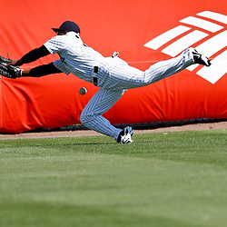 March 4, 2012; Tampa Bay, FL, USA; New York Yankees center fielder Dewayne Wise (38) dives for a ball during spring training game against the Philadelphia Phillies at George M. Steinbrenner Field. Mandatory Credit: Derick E. Hingle-US PRESSWIRE