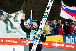 Second placed Sara Takanashi of Japan celebrates during Trophy ceremony after the 2nd Round at Day 1 of World Cup Ski Jumping Ladies Ljubno 2019, on February 8, 2019 in Ljubno ob Savinji, Slovenia. Photo by Matic Ritonja / Sportida