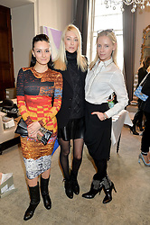 Left to right, AYTAN ELDAROVA, ANASTASSIA KHOZISSOVA and NADYA ABELA at a preview of Bionda Castana's new seasons shoes hosted by Alex Meyers and Bionda Castana and held at The Arts Club, 40 Dover Street, London on 4th March 2015.