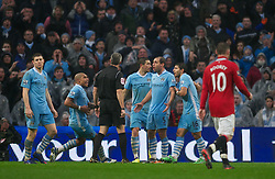 MANCHESTER, ENGLAND - Sunday, January 8, 2012: Manchester City's Pablo Zabaleta appeals for a penalty against Manchester United from referee Chris Foy during the FA Cup 3rd Round match at the City of Manchester Stadium. (Pic by David Rawcliffe/Propaganda)