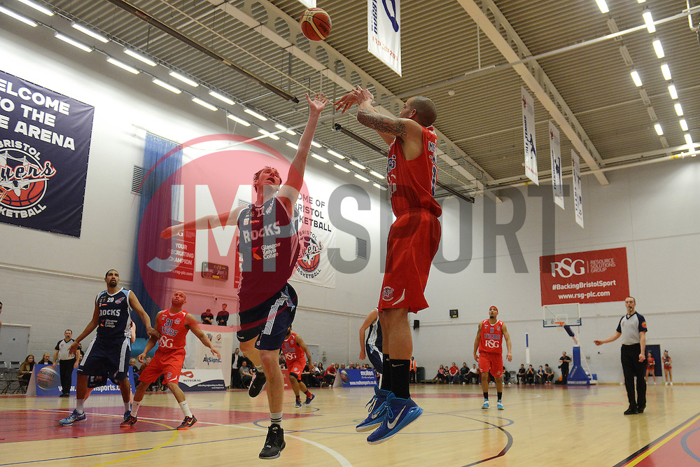 Cardell McFarland of Bristol Flyers takes a shot at goal - Mandatory byline: Dougie Allward/JMP - 12/03/2016 - FOOTBALL - SGS Wise Campus - Bristol, England - Bristol Flyers v Glassgow Rocks - British Basketball League