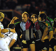 Twickenham, GREAT BRITAIN,  Quins, new signing, Hooker, [left] Gary BOTHA,  has a smile with prop right Ceri JONES, during the EDF. Energy Cup. between, Harlequins vs Ospreys at Twickenham Stoop.  02/12/2007 [Mandatory Credit Peter Spurrier/Intersport Images].