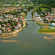 North Stann Creek River mouth, Dangriga Town from 300' looking West, Belize