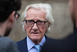 "London, UK. 25 September, 2019. Lord Heseltine is interviewed on College Green on the day after the Supreme Court ruled that the Prime Minister's decision to suspend parliament was ""unlawful, void and of no effect"". Credit: Mark Kerrison/Alamy Live News"