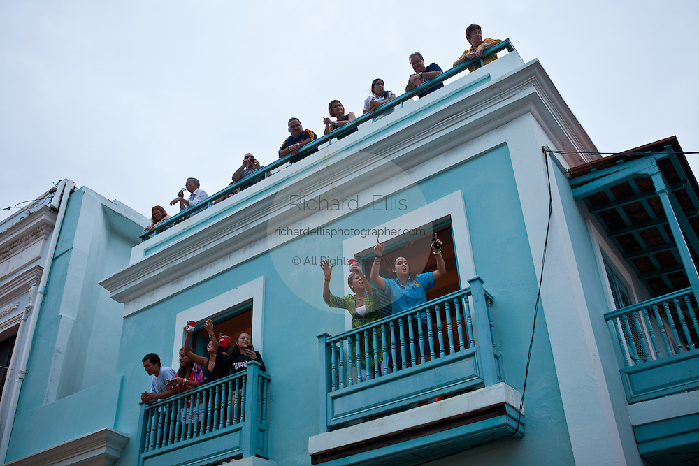 Crowds of revelers during the Festival of San Sebastian in San Juan, Puerto Rico.