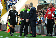 Tempers flair between Alan Pardew and Manuel Pellegrini during the Barclays Premier League match between Crystal Palace and Manchester City at Selhurst Park, London, England on 12 September 2015. Photo by Michael Hulf.