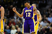 Feb. 16, 2011; Cleveland, OH, USA; Los Angeles Lakers point guard Shannon Brown (12) grimaces after a foul call against him during the third quarter against the Cleveland Cavaliers at Quicken Loans Arena. The Cavaliers beat the Lakers 104-99. Mandatory Credit: Jason Miller-US PRESSWIRE