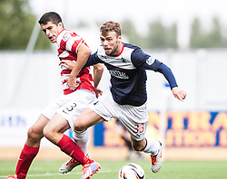 Hamilton's Stephen Hendrie and Falkirk's Rory Loy.<br /> Falkirk 1 v 2 Hamilton, Scottish Championship 31/8/2013.<br /> &copy;Michael Schofield.