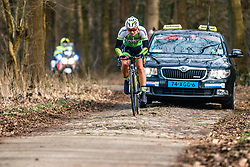 VAN VELZEN, Bryony of Lares-Waowdeals Women Cycling Team (BEL) on the cobblestones of Schaapstreek during the UCI Women's WorldTour Ronde van Drenthe at Odoorn, Drenthe, The Netherlands, 11 March 2017. Photo by Pim Nijland / PelotonPhotos.com | All photos usage must carry mandatory copyright credit (Peloton Photos | Pim Nijland)