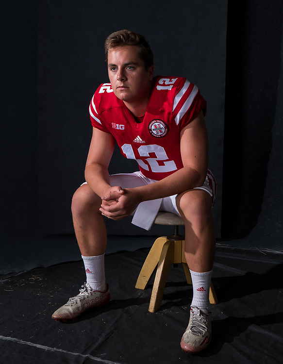 Patrick O'Brien #12 during a portrait session at Memorial Stadium in Lincoln, Neb. on June 6, 2017. Photo by Paul Bellinger, Hail Varsity