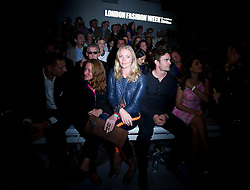 © Licensed to London News Pictures. 15/09/2012. London, UK.  Former Model Jodie Kidd (centre) at Issa London catwalk show at London Fashion Week Spring/Summer 2013 on September 15, 2012. Photo credit : Ben Cawthra/LNP
